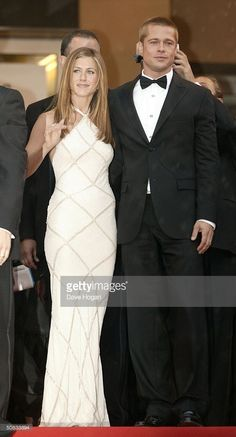 """Actors Brad Pitt and Jennifer Aniston attend the World Premiere of epic movie """"Troy"""" at Le Palais de Festival on May 2004 in Cannes, France. Aniston wears a dress by Versace. Brad Pitt And Jennifer, Epic Movie, Cannes France, Le Palais, Second Best, Cannes Film Festival, Jennifer Aniston, Troy, Versace"""