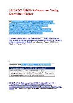 Verlag LehrmittelWagner  fuer Technische dokumentation (als Hilfe): fachuebersetzungen der technik / elektronik / mechatronik: technisches englisch woerterbuch kfz von verlag lehrmittel wagner aus 63500 seligenstadt