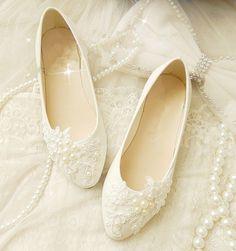 Romantic Wedding Flats - XF_L059 $98.00 AT vintagedancer.com