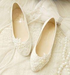 Romantic Wedding Flats - XF_L059 $98.00 AT vintagedancer.com