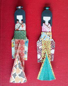 Set di 3 giapponese Handmade Origami Paper Doll di MilkyWaySketch