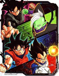 Vegeta, Goku, Zamasu, and Goku Black