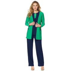 "Antthony Design Originals Antthony ""Cardi on the Block"" 3-piece Cardigan Set - Kelly Green/Navy"