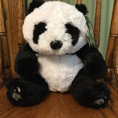 "Kohls Cares New 10"" Plush Panda Black & White Soft Stuffed Animal Toy Tags"