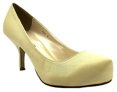 Core Collection Womens Ada Ivory Satin Slip On High Heel Bridal Court Shoes