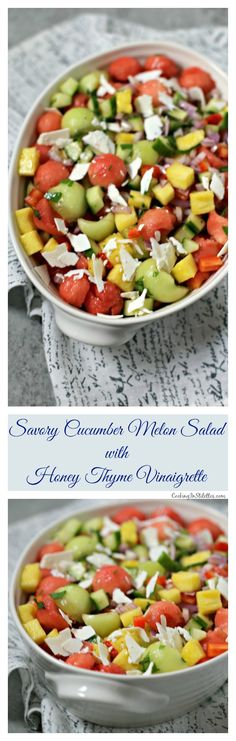 This Savory Cucumber Melon Salad with Honey Thyme Vinaigrette from CookingInStilettos.com will be the hit of the party. Fresh summer watermelon and honeydew melon is tossed with crisp veggies and sweet pineapple and then drizzled with a homemade vinaigrette for the perfect savory fruit salad. Savory Fruit Salad | Baby Shower Recipes | Summer Fruit Salad | Honeydew Melon | Watermelon Salad | Ricotta Salata | Homemade Vinaigrette ~ https://cookinginstilettos.com