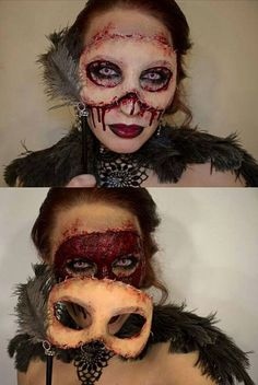 Halloween makeup - Might get too hot to try this at Dragon*Con, but it looks so cool I wanna give it a shot. Halloween Makeup, Makeup for Halloween, Trick or Treat, Hall-o-ween Face Makeup Looks Halloween, Halloween Kostüm, Holidays Halloween, Halloween Costumes, Halloween Face Makeup, Halloween Masquerade, Masquerade Makeup, Masquerade Ball, Zombie Costumes