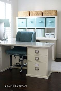 My Summer Office via A Bowl Full of Lemons #marthastewart #officeorganization #office #abowlfulloflemons