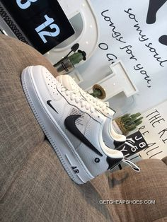 online retailer 28b75 08c6b Women Men Latest Nike Air Force One R Hook Classic All-Match Sneakers White  And Black