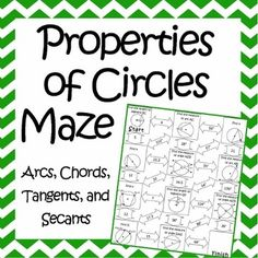 """This is a maze composed of 11 circles that students must use the properties of circles to find missing angles and lengths. It is a self-checking worksheet that allows students to strengthen their skills at using the geometric properties of circles. I have included 2 versions of the """"show your work"""" page to allow for differentiated instruction."""