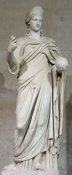 Statue of a goddess, probably Juno, restored as Urania. Marble, 2nd century AD (nose, mouth, neck, arms and feet are modern restorations). Louvre Museum.