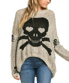 Another great find on #zulily! Avenue Hill Mocha Skull & Crossbones Sweater by Avenue Hill #zulilyfinds