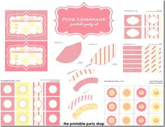 Printable Party Shop by Frosted Events, http://www.frostedeventsblog.com, #pinklemonade #lemonadeparty #pinkparty #partyideas
