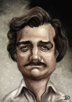 Digital caricature painting Pablo Escobar, NETFLIX
