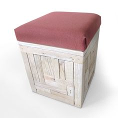 A stool with hidden storage space. Each side of the #stool #box is individual and crafted out of single pieces creating beautiful patterns. This is a multitasking box – stool and storage at the same time! The timber is finished off in a #white-washed look. The wooden seating is padded and covered with a sturdy fabric.