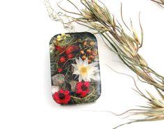 Nature jewelry Flower necklace. Botanical by oceanpetalsartstudio