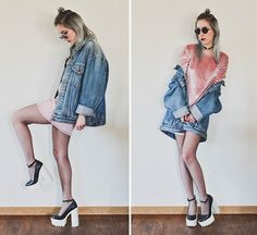 Get this look: http://lb.nu/look/8581305 More looks by Saskia B.: http://lb.nu/x11h30 Items in this look: Levi's® Vintage Denim Jacket, To Save Velvet Dress, Asos Fishnet Tights, Jeffrey Campbell Dupe Scully #grunge #street #vintage #velvet #levis #denimjacket #heels #fishnet