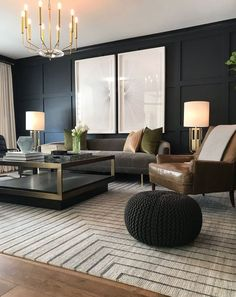 Navy Living Rooms, Home Living Room, Interior Design Living Room, Living Room Designs, Living Room Decor, Black Interior Design, Interior Home Decoration, Black And Cream Living Room, Modern Living Room Design
