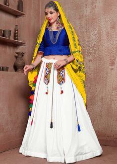 #white #embroidery #navaratri #lehenga #choli #dupatta #designs # traditional #indian #outfits #gorgeous #wedding #look #ootd #new #arrival #womenswear #online #shopping Lehenga Crop Top, Lehenga Skirt, Red Lehenga, Party Wear Lehenga, Indian Lehenga, Lehenga Choli, Anarkali, Lehenga Blouse, Cotton Lehenga