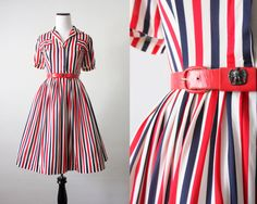 1950's dress - red and blue striped 50's dress. $144.00, via Etsy. LOVE THIS
