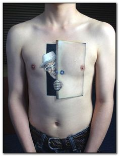 Meaningless chest tattoo - You don't always need to have an explanation why you got such tattoo, right? There are no rules, only great art work and worst tattoos. Amazing 3d Tattoos, Best 3d Tattoos, Tattoos 3d, Neue Tattoos, Funny Tattoos, Body Art Tattoos, Creepy Tattoos, Tatoos, Optical Illusion Tattoo