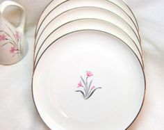 Pink Flowers Plates China Vintage Serving Grey Black Silver Rim  Syracuse China Salad Dessert Plates Mid Century Modern Simple Elegant White