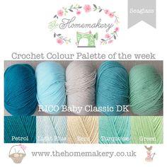 This weeks Seaglass inspired Crochet Colour Palette uses soft shades of blues and greens from Rico Baby Classic DK, a fantastic acrylic DK. Yarn Color Combinations, Green Color Schemes, Colours That Go Together, Yarn Inspiration, Yarn Thread, Color Pallets, Yarn Colors, Crochet Yarn, Wool Yarn