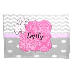 Modern Gray Chevron Polka Dots Elephant Monogram Pillow Case - baby gifts child new born gift idea diy cyo special unique design