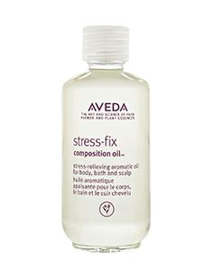 Aveda Stress-Fix composition oil. aroma proven to reduce feelings of stress with certified organic lavender, lavandin and clary sage from the French Alps