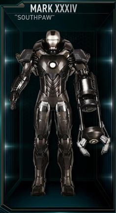 The Southpaw was the thirty-fourth Iron Man suit created by Tony Stark, and one of the many armors he developed after the battle for New York against Loki and the Chitauri. The attack had left him with the feeling that the world couldn't be safe for long, and that he needed to build more suits until the next time Earth was in danger. The Southpaw suit was among those summoned by Stark to battle Extremis-enhanced soldiers assisting Aldrich Killian's plot. It was controlled at the time by...