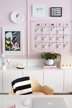 A good calendar is essential for an organized life. A wall calendar is a great option because it's nice and big with room to write down all your appointments. Plus, a wall calendar is hung up and displayed out in the open so you won't forget to glance at it every day.  | Back To School Organization Tips