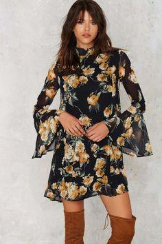 Marina Floral Bell Sleeve Dress | Shop Clothes at Nasty Gal!