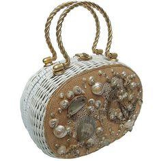 Posh Sea Shell White Wicker Retro Handbag c 1960 ❤ liked on Polyvore featuring bags, handbags, decorating bags, embellished purse, white purse, retro purses and embellished bag