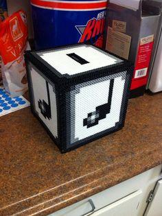 3D Mario Bros Perler Bead Sprite Bank Music Note Box by SDKD, $20.00