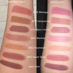 [SWATCHES] New Bite Beauty Bouche Amuse MERINGUE & HONEYCOMB swatched next… Mac Eyeshadow Dupes, Nyx Dupes, Makeup Dupes, Nyx Cosmetics, Lipstick Swatches, Lipstick Colors, Bite Beauty Honeycomb, Kylie Jenner Lipstick Mac