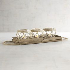 Rope & Glass Centerpiece Tealight Candle Holder Brown