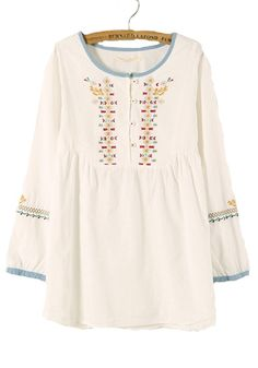 White Embroidery Long Sleeve Loose Cotton Blend Blouse