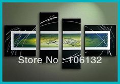 Framed 4 Panel Large High End Amazing Abstract Oil Painting Black Frame Art Picture Wall Decor A0270