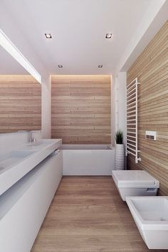 Wood effect with white background bathroom