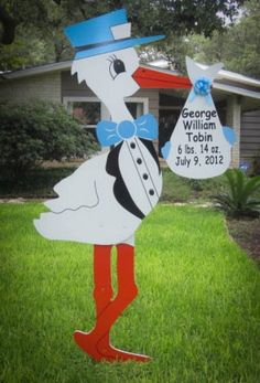 Boy Stork Yard Sign, Birth Announcement! I want one one the yard when I come home from the hospital!