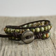 Double wrap natural stone bracelet. Jasper semiprecious gemstone beaded jewelry