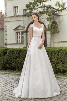 Olivia Bridal Gown 2015 Charming White Satin Tulle A Line Cap Sleeve Lace Up Keyhole Back Wedding Dress Floor Length