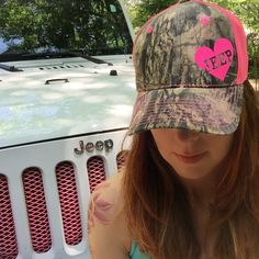 a34739ba5fb8c Items similar to Jeep Girl Camo Trucker Hat  Pink Mesh Back Hat with heart  detail on Etsy