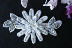 """Tripple Layer Venice Lace Applique with Beads and Sequins Embroidered on Organza, Sequins are Iridescent , Lot of 20 Appliques, 3"""" X 5.5"""", Ivory or White Amore Lace and Fabrics http://www.amazon.com/  $14.00, beautiful appliques"""