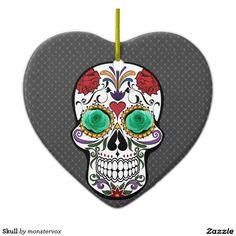 Skull Ceramic Ornament #Skull #Bone #Skeleton #Flower #Rose #Holiday #Halloween #Ornament #Heart