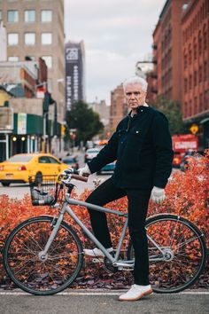 David Byrne rides a Jamis Commuter with custom Halo retro-reflective coating Photographed on the Hudson River Greenway at Watts St., Manhatt...