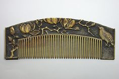 Kushi - Nightingale and Lotus Flower Hair Comb. Carved and Patinated Ivory. Edo Period.