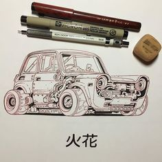 """Inktober day 7 Hibana """"Hachiro took a page from Toru in building a smaller and more nimble car. He scoured scrapyards for years until finding most of a mid 20th century N600 Honda. The only true 'kei' car in the crew, his has a power to weight ratio that's impressive for its diminutive size. Toru employed an eclectic mix of vintage Ishihara and Tsukadadyne semi-inboard wheel motors and a dated direct methanol PE membrane fuel cell modded to increase its performance. #inktober2016…"""