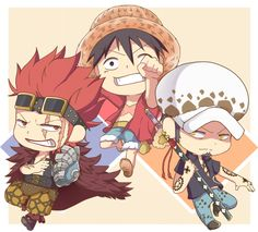 One Piece, Monkey D. Luffy, Law, Kid