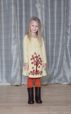 Falling Leaves Dress - The Dragon and the Rabbit  - Leggings available at http://www.thedragonandtherabbit.com/categories/GIRLS/Pants-%26-Jeans/Leggings/